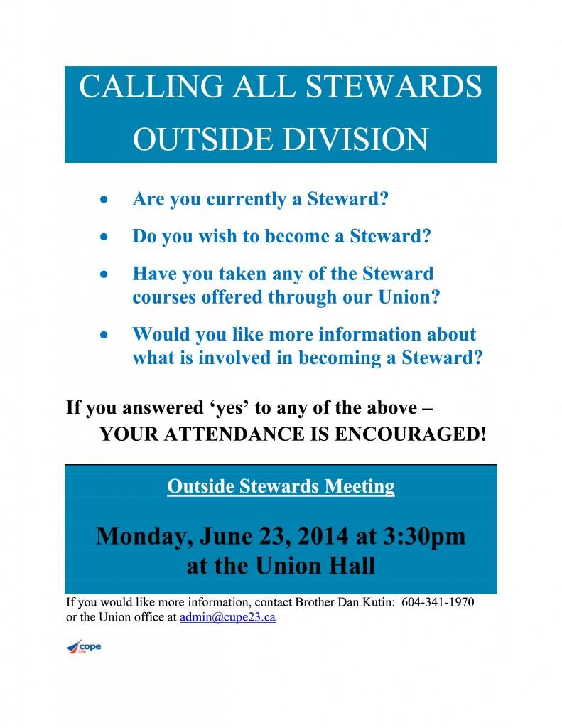 Outside Steward Meeting NOTICE  14-06-23
