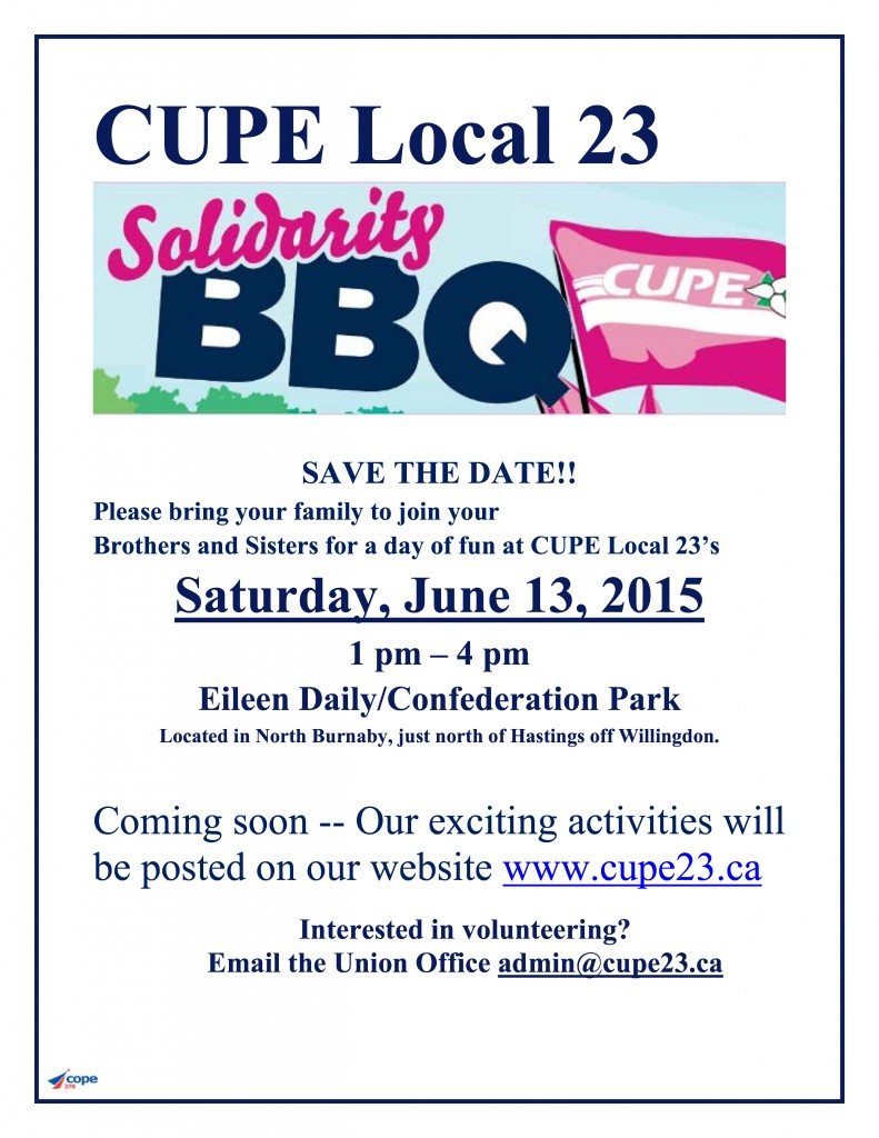 CUPE 23 BBQ Flyer 2015 save the date