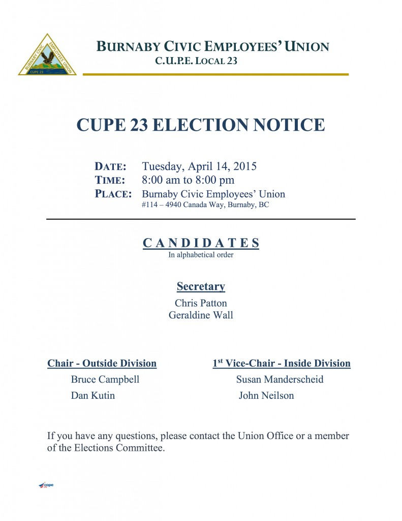 Notice of Election 2015