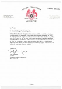 Burnaby Firefighters Association Thank You Letter