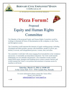 Equity and Human Rights - Pizza Forum Flyer 2015-11-05