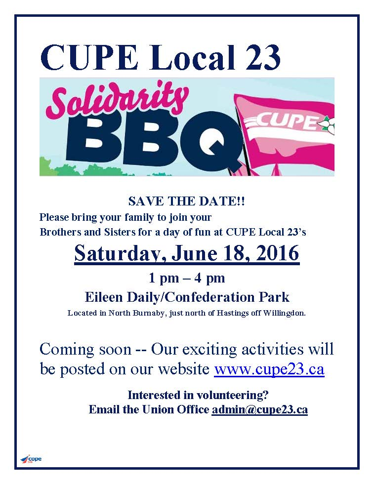 2016 CUPE BBQ Save the Date Flyer