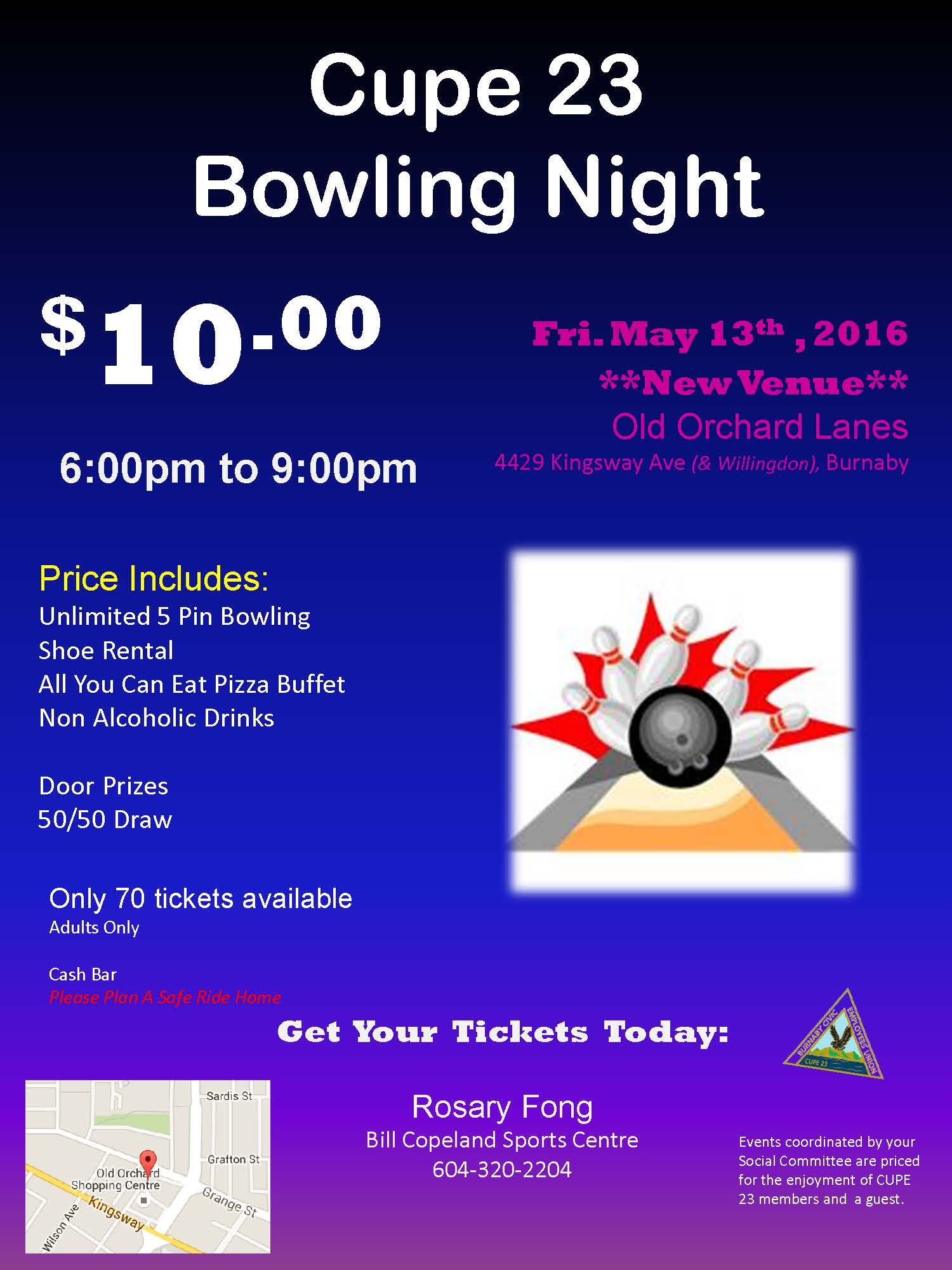 2016 CUPE Bowling Night Poster May 13th