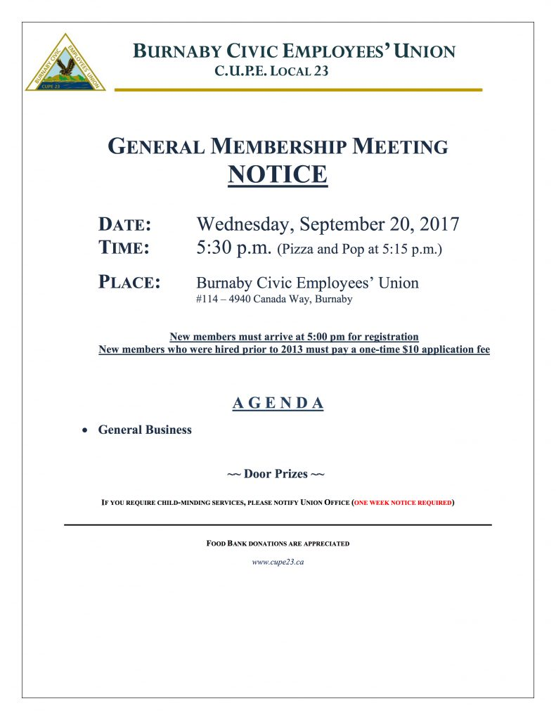General Membership Meeting Notice - September 2017 - September 20, 5:30 pm, Union Hall