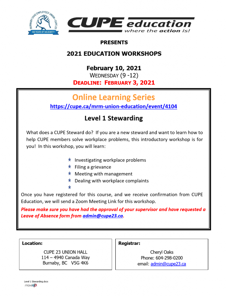 CUPE 23 Level 1 Stewarding - online course Feb. 10, 2021